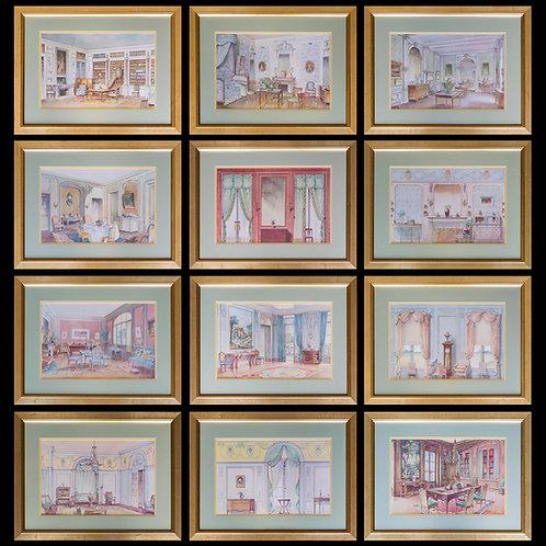 Twelve Antique French Interior Prints