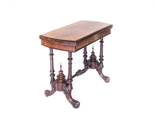 Victorian Burr Walnut and Marquetry Card Table