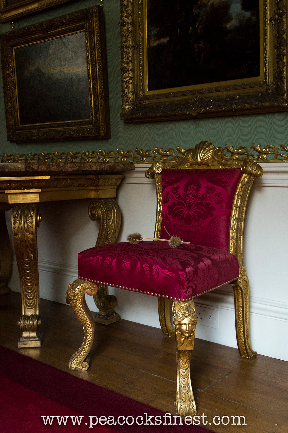 Chatsworth House, The Gallery. William Kent giltwood chair