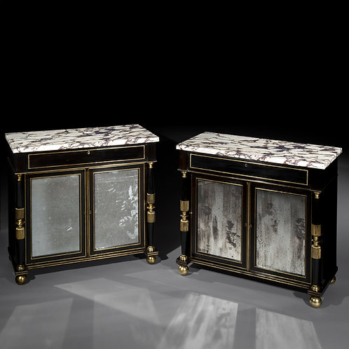 Pair of Antique Regency Cabinets with Marble Tops, Ormolu and Old Mirror Plates