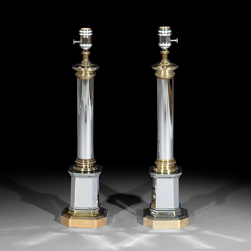 Pair of Polished Metal Table Lamps