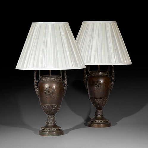 Pair of Antique Grand Tour Bronze Table Lamps