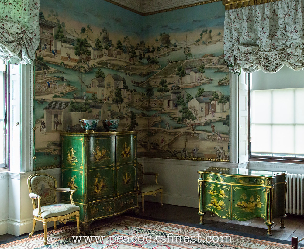 Harewood House, East Bedroom, green and gold-japanned commode and clothes press, and the Chinese hand-painted wallpaper, all supplied by Thomas Chippendale