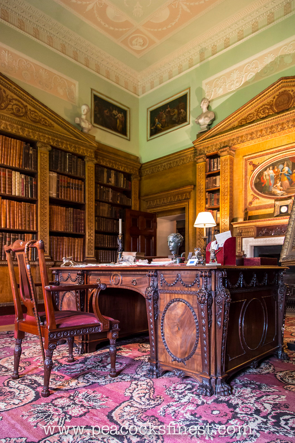 Nostell Priory, Chippendale's lyre back chair and writing table