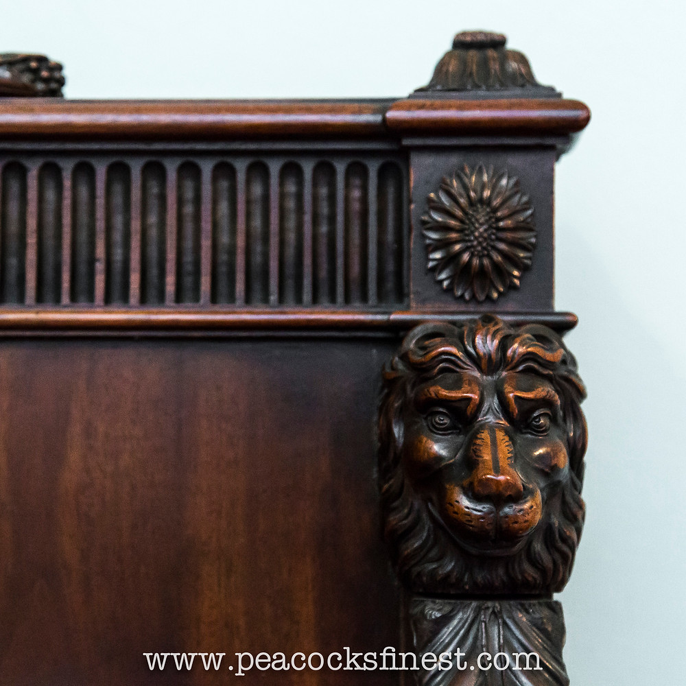 Exquisite detail of a hall bench at Kenwood House
