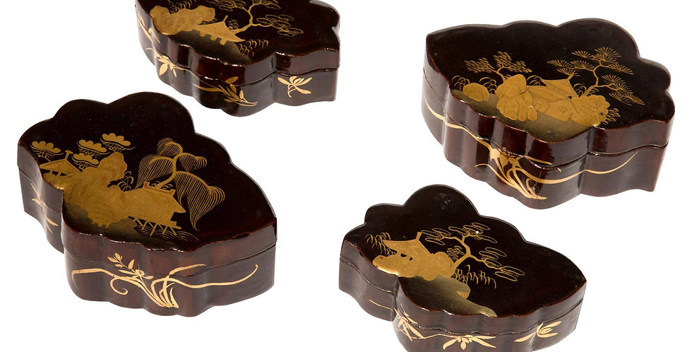 Set of Four Antique Japanese Lacquer Jewellery Boxes