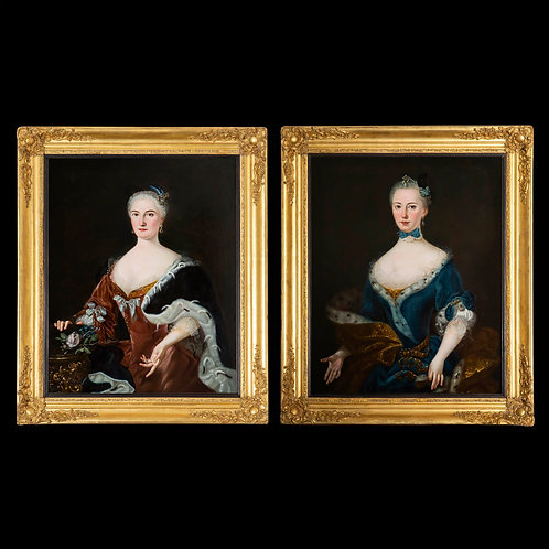 Pair of 18th Century Portraits of Noble Ladies