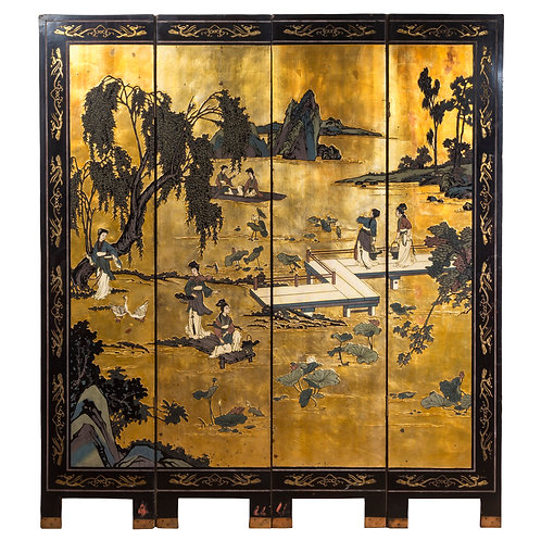 Antique Chinese Export Coromandel Lacquer and Gilt Screen