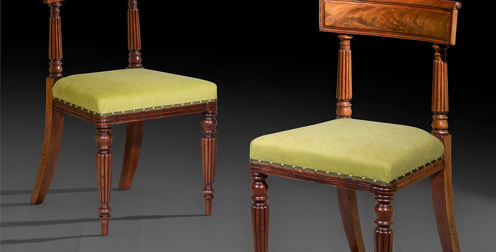 Six Antique Dining Chairs in Mahogany of Regency Period, in the manner of George Bullock