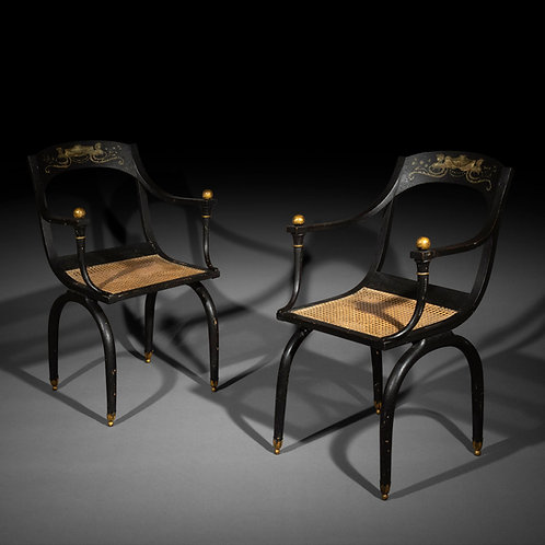 Pair of Antique Curule Armchairs, in the style of Jean-Joseph Chapuis