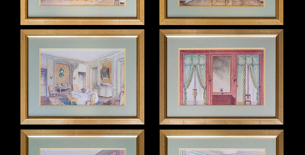 Set of Six Antique French Interior Prints