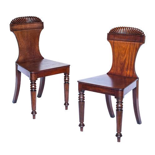 Fine Pair of Regency Figured Mahogany Hall Chairs