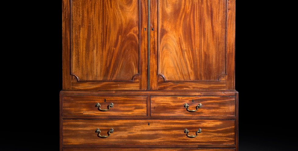 Antique Wardrobe in Mahogany of Chippendale Style