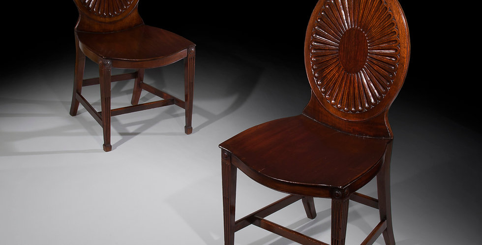 Pair Of George III Hall Chairs, manner of Mayhew and Ince