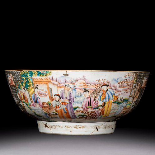 18th Century Chinese Export Porcelain Bowl with Old Riveted Repairs