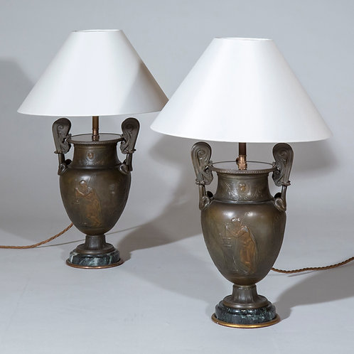 Pair of Small Antique Table Lamps of Grand Tour Greek Bronze Volute Krater Shape