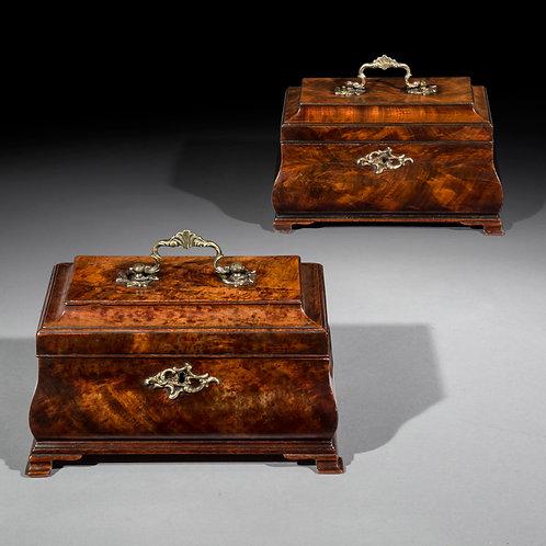 Pair of George III Chippendale Bombé Tea Caddies