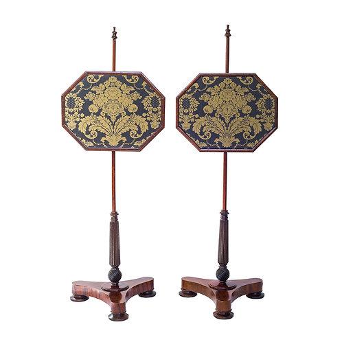 Fine Pair of Regency Rosewood Pole Screens