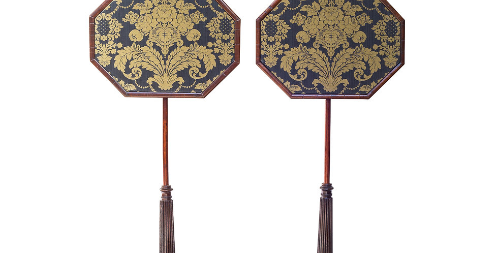 Fine Pair of Regency Rosewood Pole Screens