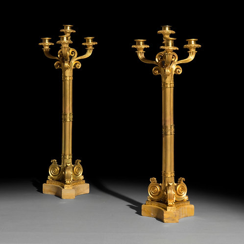 Fine Pair of Louis Philippe Ormolu Candelabra, Attributed to Thomire