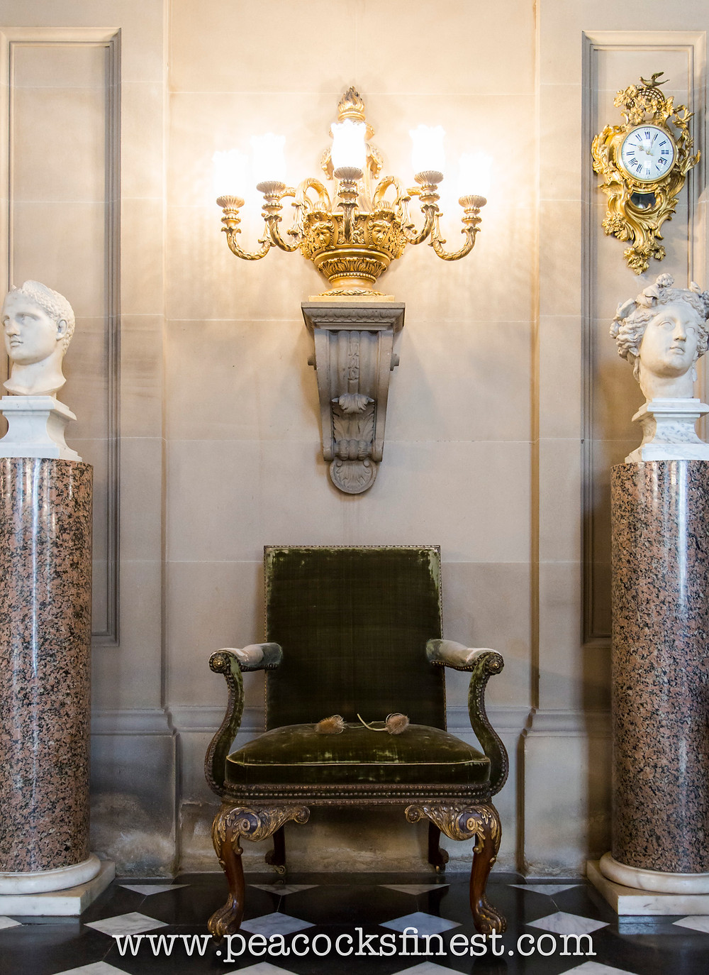 Chatsworth House, The Painted Hall. A superb antique George II period walnut and gilt armchair, c. 1730