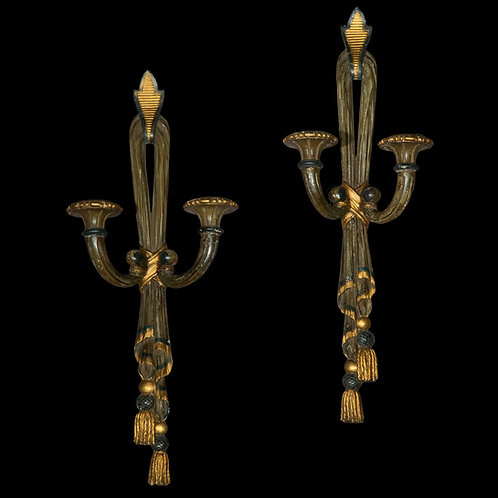 Pair of 19th Century Painted Wall Lights
