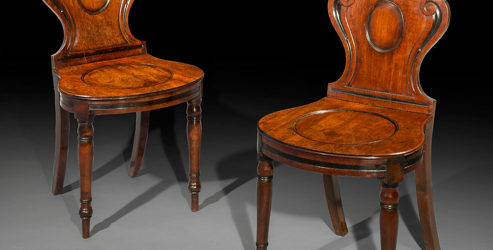 Pair of Regency Hall Chairs, attributed to Banting and France