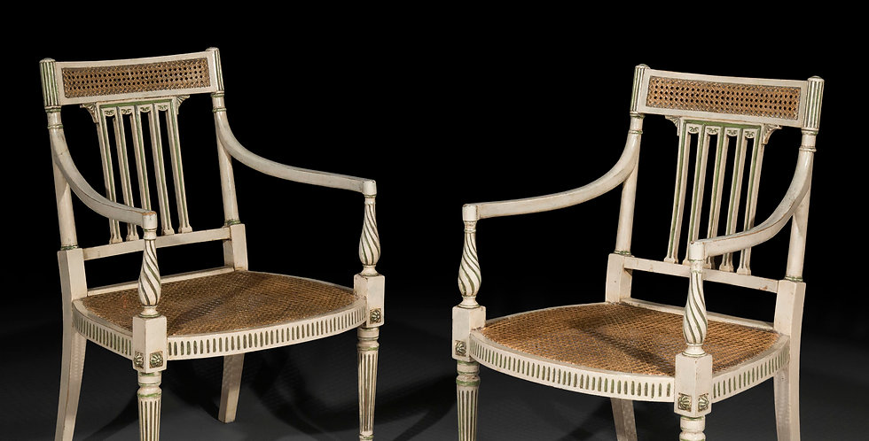 Pair of Neoclassical White Painted Open Armchairs