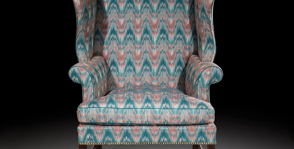 Antique Georgian Chippendale Wing Chair in Mahogany