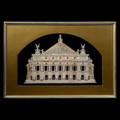 Opera Garnier Paris, Antique Needlework Tapestry Picture