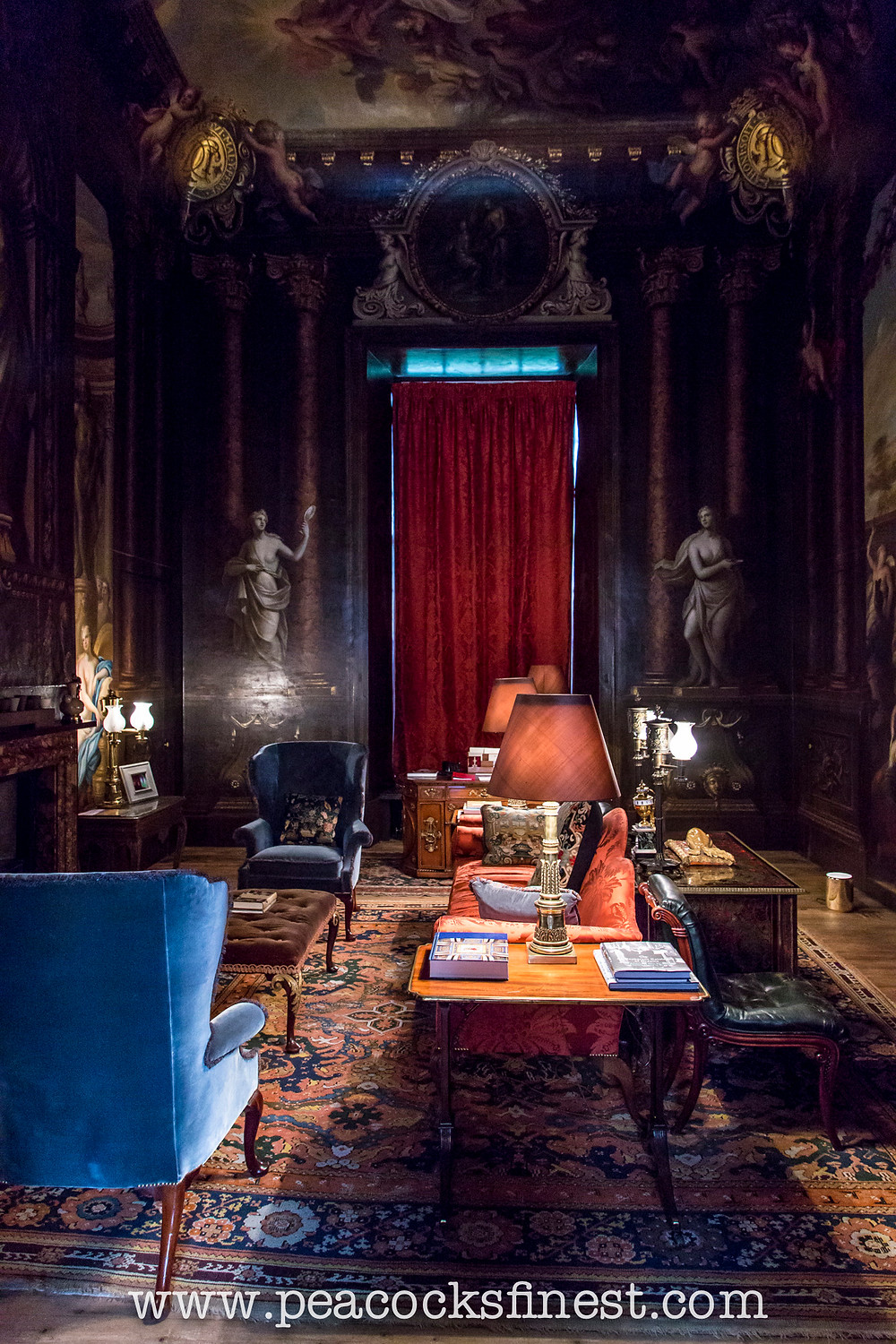 Antique English furniture in historic interiors at Chatsworth House