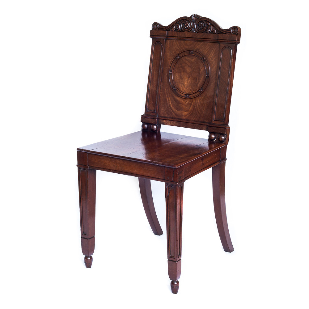 George III Regency Mahogany Hall Chairs