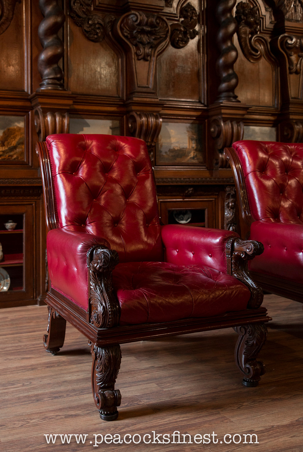 Regency library armchairs, possibly by Gillows, at Chatsworth House