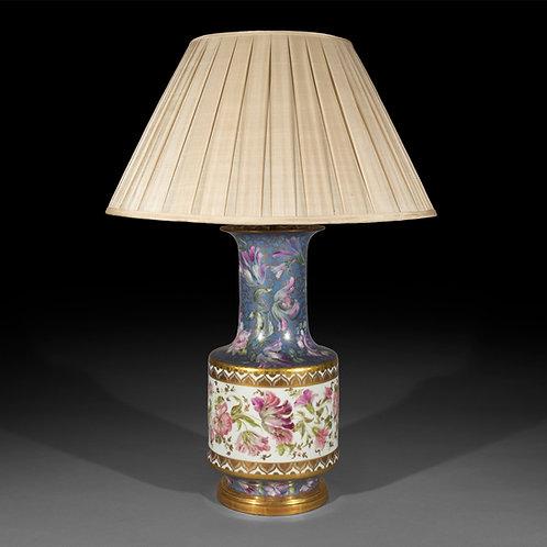 Massive Antique Porcelain Vase Table Lamp with Hand-Painted Floral Decoration