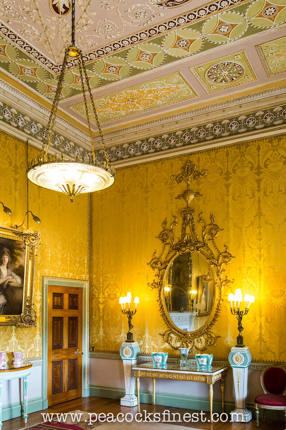 Harewood House, The Yellow Drawing Room. Two splendid looking glasses by Thomas Chippendal