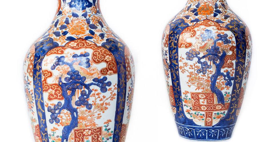 Pair of Large Meiji Period Imari Vases