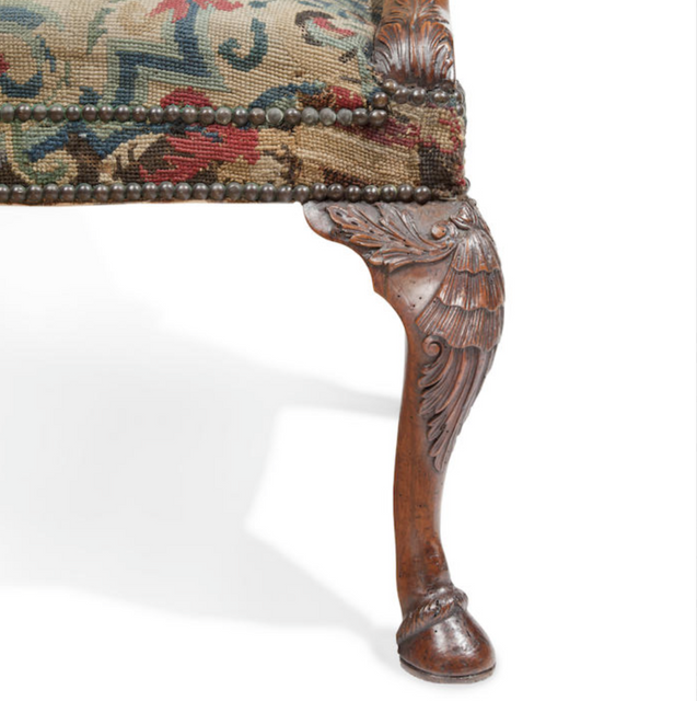 A detail of 18th c. Walnut Armchair