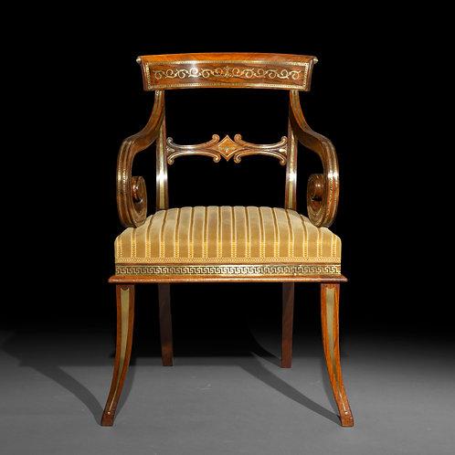 Fine Regency Brass Inlaid Armchair, in the Manner of George Oakley