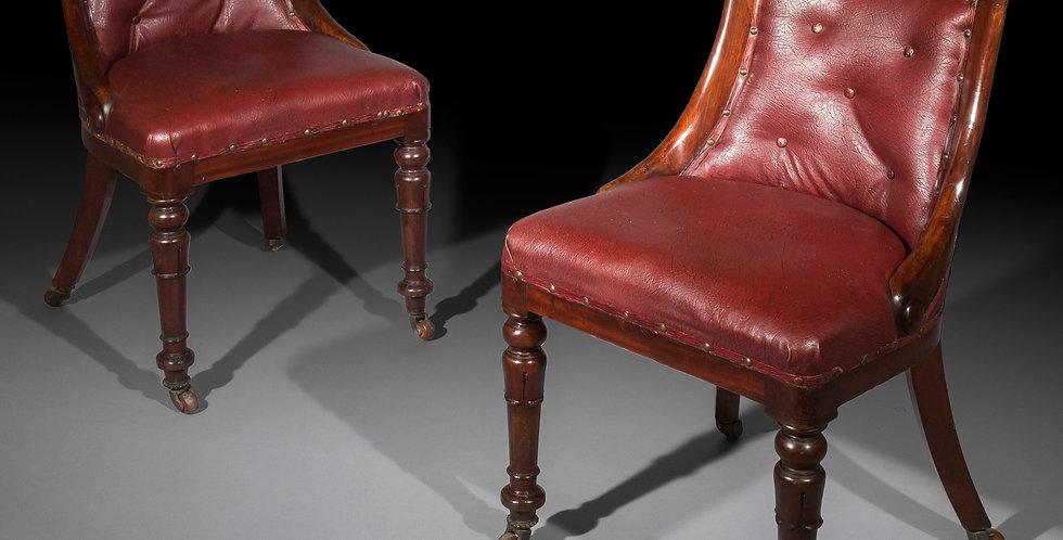 Eight Antique Dining Chairs in Old Leather of Regency Period