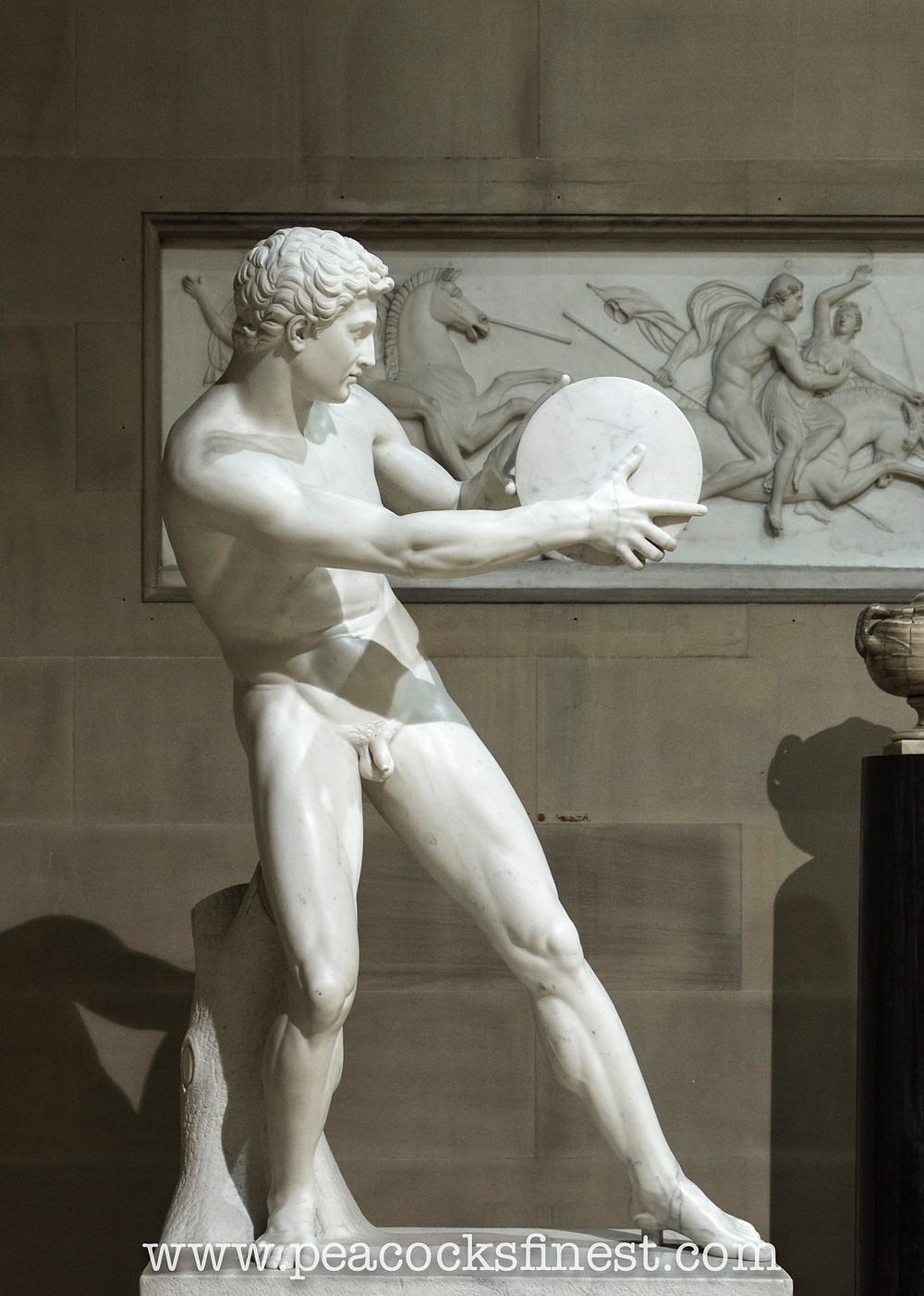 Chatsworth House, the Scultpure Gallery. Diskobolos preparing to throw, by Mathieu Kessels.