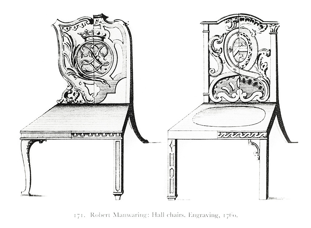 Robert Manwaring designs for hall chairs, c. 1760