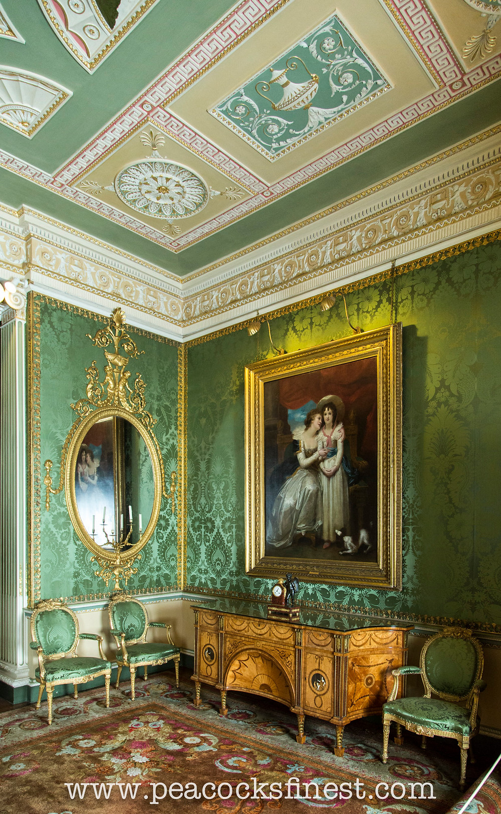 Harewood House, the State Bedroom. The Diana and Minerva Commode, flanked by giltwood open armchairs