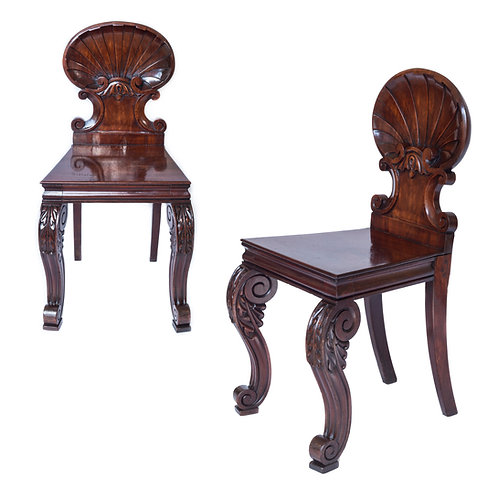 Rare Pair of Regency Scallop Back Hall Chairs