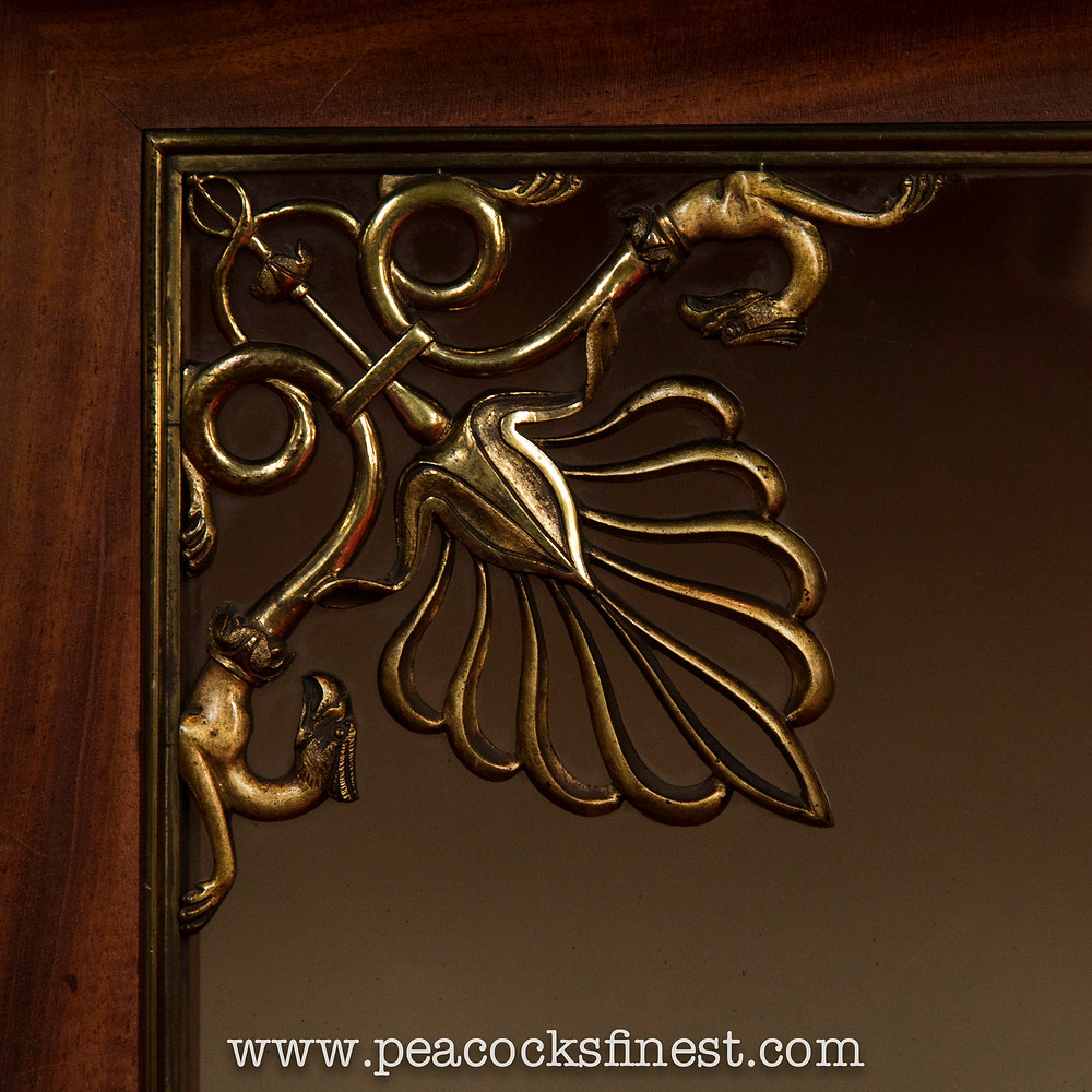 Brasswork detail of a fine Regency bookcase or display cabinet at Chatsworth House