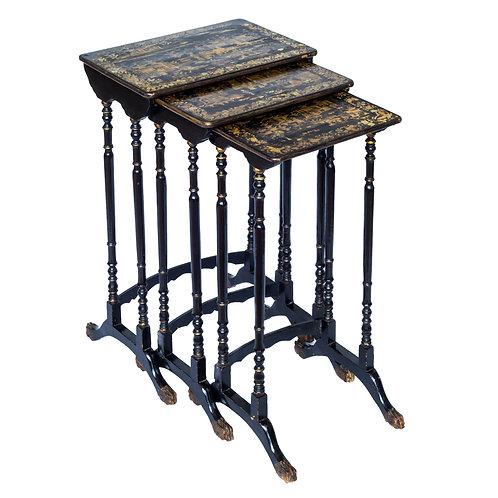Early 19th Century Chinese-Export Chinoiserie Nest of Tables