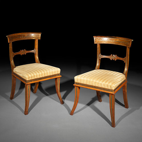 Eight Regency Brass Inlaid Klismos Dining Chairs, Attributed to George Oakley