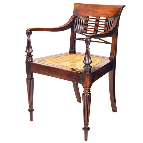 Regency Colonial Padouk Open Armchair, possibly Anglo-Chinese