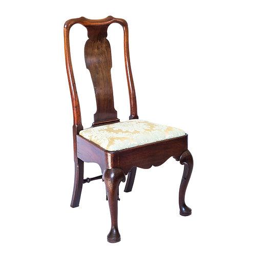 Fine George II Mahogany Chair Covered in Silk