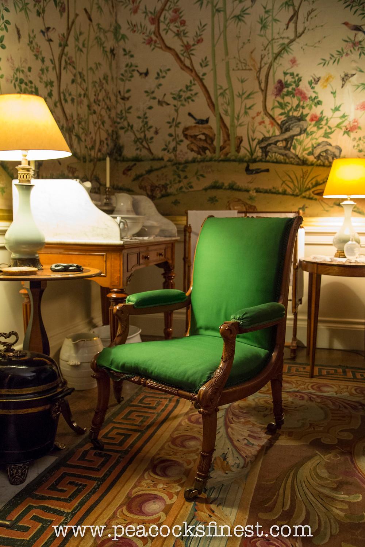 Chatsworth House, the Wellington Bedroom. Regency satinwood armchair, historic interiors