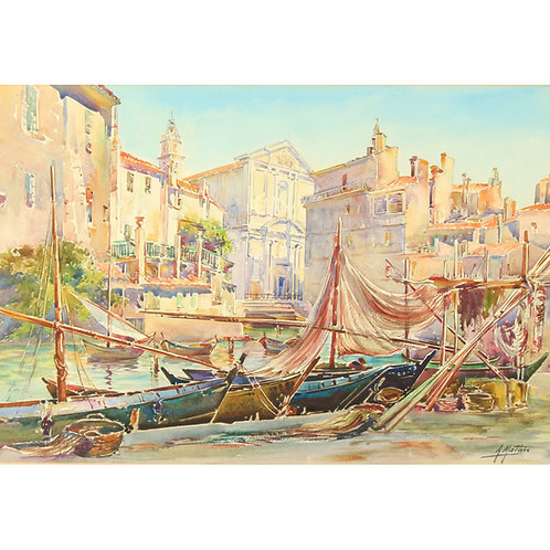 A. Mathis (1873-1940), Un port à Martigues, Fine Watercolour